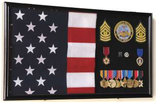 Military Medal Flag Display Case Cabinet Shadow Box