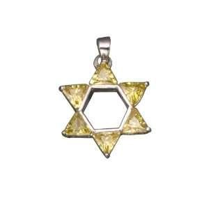 JEWISH STAR DAVID RHODIUM PLATED .925 Sterling Silver PENDENT Jewelry