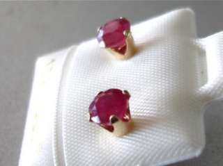 30 CTS RUBY NATURAL GENUINE RUBIES IN 10KT SOLID GOLD STUD EARRINGS