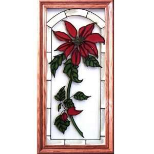 Medium Oak Framed Art Glass Christmas Poinsettia Window
