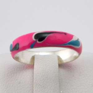 925 Silver Pink Paint Art Fashion Band Ring Sz5,6,7,8