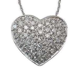 1/4 Carat Pave Set Diamond Heart Pendant in White Gold