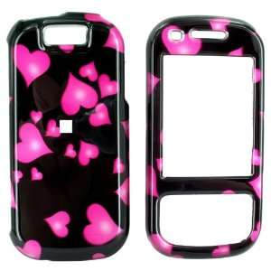 For Samsung Exclaim Hard Case Floatin Pink Hearts Black Electronics