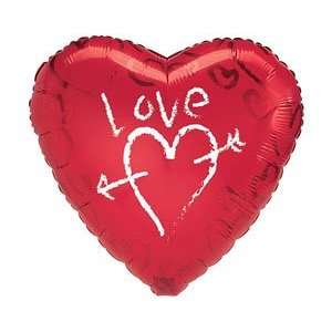 Valentines Day Love Graffiti Heart 18 Mylar Balloon