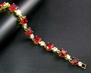 Red Ruby Yellow Gold GP Tennis Bracelet Hand Chain