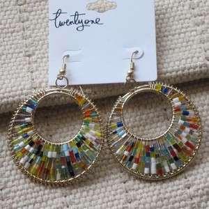 Brand New Forever21 Hoop Hook Earrings Gift FS Fashion Gold Tone