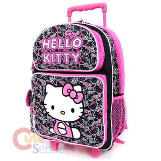 Hello Kitty School Roller Backpack Rolling Bag Black Outline 2