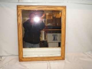Old Vtg Beveled Glass Wall Mirror Oak Wood Frame 24x28
