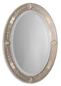 Antique Oval Frameless Etched Traditional Wall Mirror
