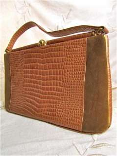 Womens Alligator Suede Leather Purse Framed Lady Handbag Vintage Bag