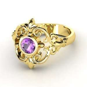 Winter Palace Ring, Round Amethyst 14K Yellow Gold Ring Jewelry