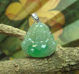 18K 100% Natural Green A Jade Jadeite Buddha God Pendant