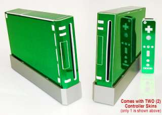 GREEN CHROME SKIN for Nintendo Wii system mod remote