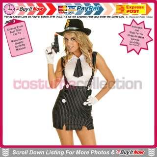 Mafia Mob Gangster Moll Fancy Dress Halloween Costume & Hat