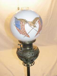 ELECTRIFIED OIL LAMP EAGLE FLAG GLOBE SHADE BRASS SMOKING STAND