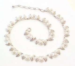 Sterling Silver Leaf Adjustable Link Necklace; Germany