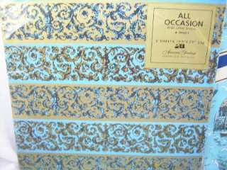 1970s Blue Gold MENS Gift Christmas Wrap MIP   4 NEW Unused Vintage