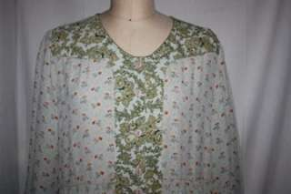 Gorgeous April Cornell Green floral Rayon Dress Large