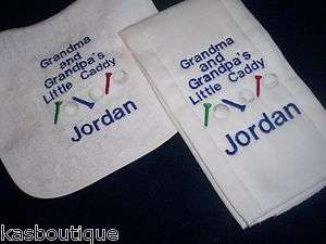 Little Caddy Golf Baby Bib & Burp Cloth Set Personalized gift sports