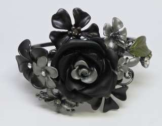 Hematite Black Flower Crystal Bangle Bracelet s0437