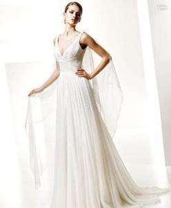 White Chiffon V Neckline Bridal Gown Wedding Dress New