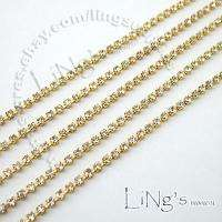 2mm Clear A Grade Rhinestone Crystal Silver/Gold Diamante Chain Trim