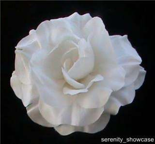 WHITE SILK ROSE FLOWER BRIDAL WEDDING HAIR CLIP 5