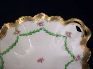 Antique MZ Austria Pink Rose Sauce Nut Condiment Bowl with Matching