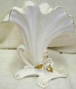 Vintage Napco Alaskan Rose Vase Japan White Gold Trim
