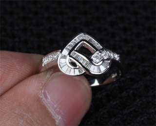 Channel HEART SHAPED .49CT DIAMOND Solid 14K WHITE GOLD Engagement