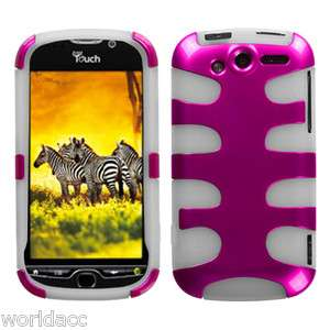 HTC myTouch 4G FishBone Hard Case Silicone Cover Hot Pink / White