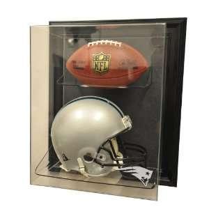 New England Patriots Helmet and Football Case Up Display