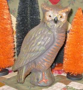 Vintage Style Natural Paper Mache Halloween Medium Owl |