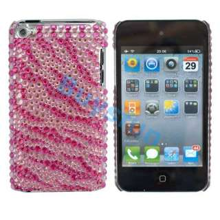 Zebra Hard Bling RHINESTONE Case Cover iPod Touch 4 4G