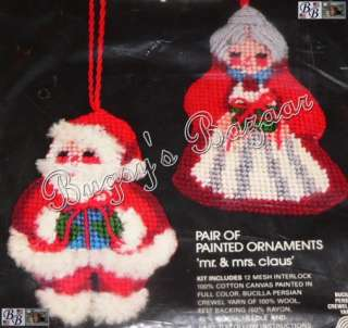 Vtg Bucilla Mr. & Mrs. Claus Santa Needlepoint Christmas Ornaments Kit