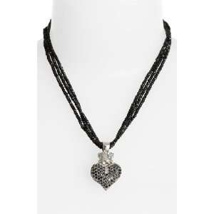 Queen Baby Crowned Pave Heart Triple Strand Necklace
