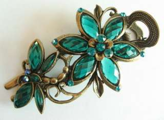 VARY COLORS SWAROVSKI CRYSTAL BIG DRAGONFLY FLOWER HAIR BARRETTE CLIP