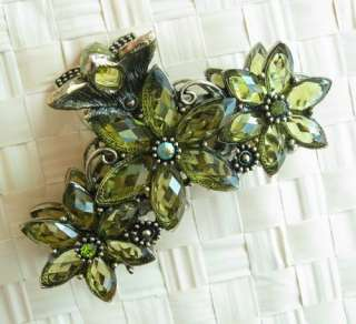 VARY COLORS SWAROVSKI CRYSTAL 3 BIG BRONZE FLOWER HAIR CLAW CLIP 803