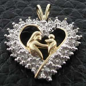ESTATE 10k Two Tone Gold Mother & Baby Diamond Heart Pendant