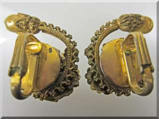 Gold Tone Faux Pearl and Rhinestone Earrings ~  ~