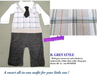 Baby Boy  Vest+ Tie+ Jeans Style Formal Tuxedo Bodysuit Outfit Romper
