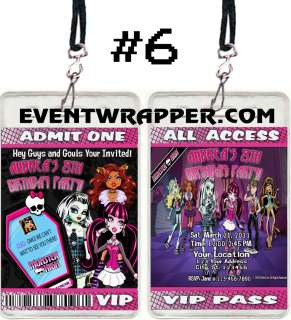 MONSTER HIGH BIRTHDAY PARTY INVITATIONS VIP PASSES AND FAVORS SEVERAL