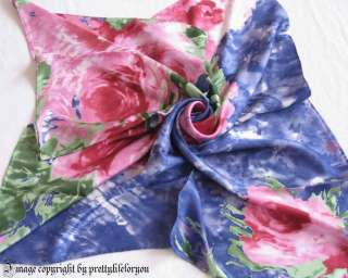 35X35 100% Twill Silk Scarf Wrap, Pink Roses, Hand rolled hems