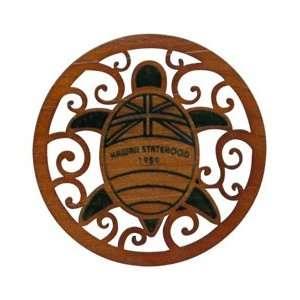 Hawaii Laser Cut Wood Coasters Flag Turtle 50th. Kitchen