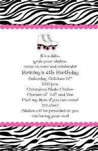 Zebra Theme Girl Rollerskate Birthday Party invitations