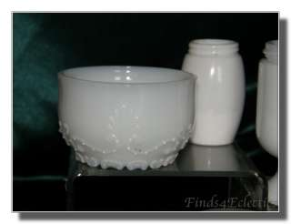 LOT 6 Vintage Milk White Glass Vanity Cold Cream Jars