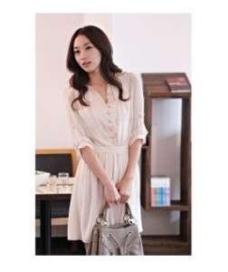 Hot Sale New Fashionable Ladylike Chiffon Dress Beige