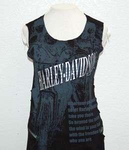 Harley Davidson Ladies Mesh Vents 2 Layer Black Sleeveless Shirt