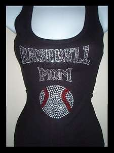 BASEBALL MOM RHINESTONE TANK TOP BLACK SIZES,M,L,XL, SLEEVELESS T