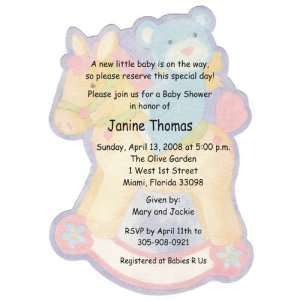 Bear Rocking Horse Diecut Baby Shower Invitations: Health